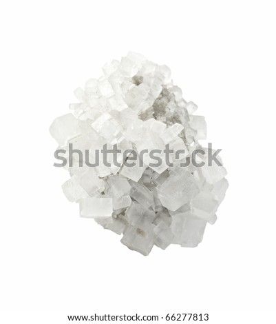 Crystal of mineral salt on a white background - stock photo