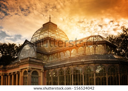 Crystal Palace in Retiro Park, Madrid, Spain - stock photo