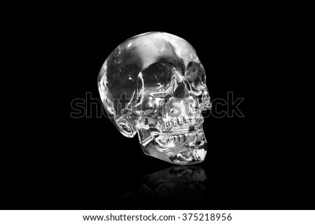 Crystal skull ancient South American artifact on black at angle - stock photo