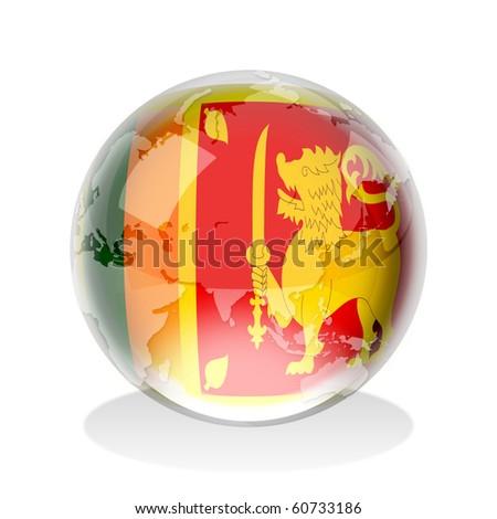 Crystal sphere of Democratic Socialist Republic of Sri Lanka flag with world map - stock photo