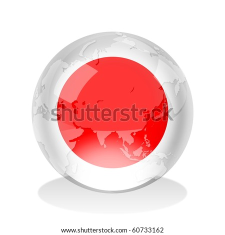 Crystal sphere of Japanese flag with world map - stock photo