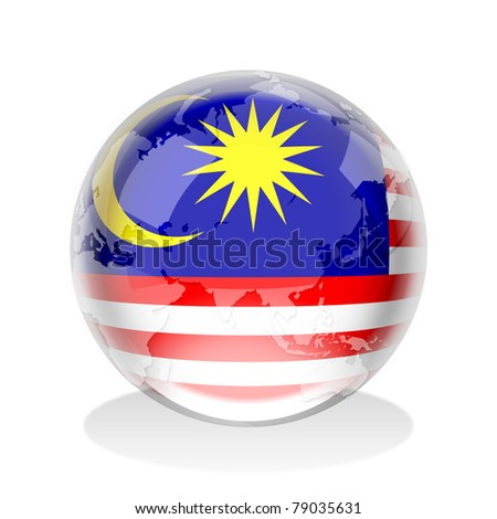 Crystal sphere of Malaysia flag with world map - stock photo