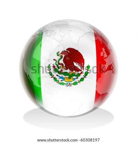 Crystal sphere of Mexican flag with world map - stock photo