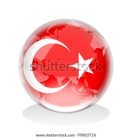 Crystal sphere of Turkey flag with world map - stock photo