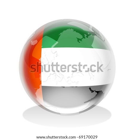 Crystal sphere of United Arab Emirates flag with world map - stock photo