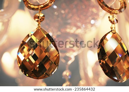 crystal strass for the lamp in brown tones for luxury interior design - stock photo