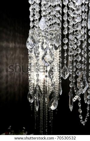 crystal strass lamp white over black background luxury interior design - stock photo