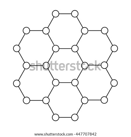 Crystal structure icon in outline style on a white background - stock photo