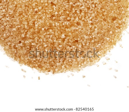 Crystals cane sugar isolated on white - stock photo