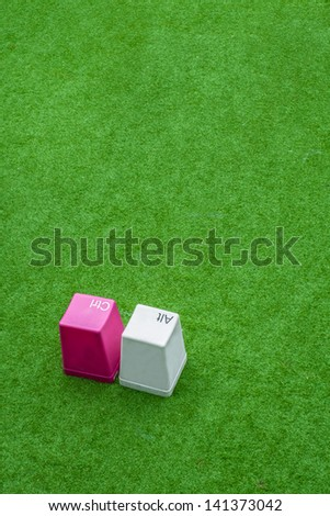 Ctrl Alt buttons from keyboard in fake grass, concept of real nature being controlled by human technology - stock photo