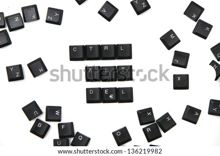 ctrl, alt, del from black keyboard isolated on the white background - stock photo
