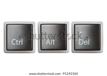 Ctrl, Alt, Del keyboard keys, top view  isolated on white - stock photo