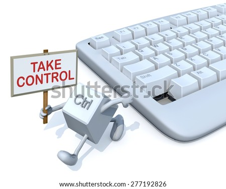 ctrl key with banner run away from a keyboard. 3d illustration - stock photo