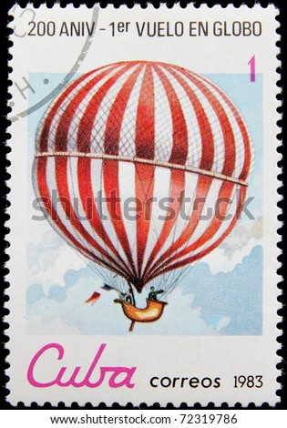 CUBA - CIRCA 1983: A post stamp printed in Cuba shows Balloon in white and red stripes, series Bicentenary of the 1st Manned Balloon Flight, circa 1983
