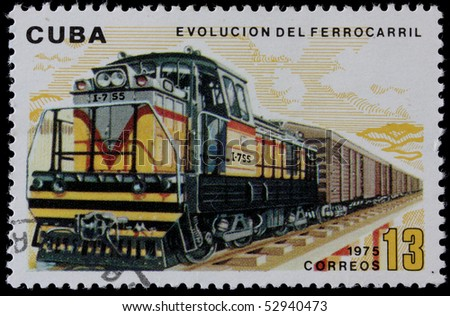 CUBA - CIRCA 1975 : A post stamp printed in Cuba shows moving train and devoted evolution of railway traffic , series .Circa 1975