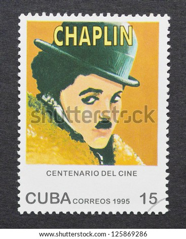 CUBA -Â?Â? CIRCA 1995: A postage stamp printed in Cuba showing an image of Charles Chaplin, circa 1995. - stock photo