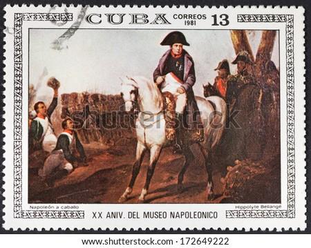 CUBA - CIRCA 1981: A postage stamp printed in the Cuba shows Napoleon horseback, circa 1981 - stock photo