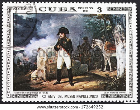 CUBA - CIRCA 1981: A postage stamp printed in the Cuba shows Napoleon with war landscape background, circa 1981 - stock photo