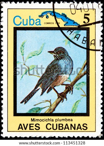 CUBA - CIRCA 1983:A Postage Stamp Shows Mimocichla Plumbea, from Series Cuban Birds, 1983