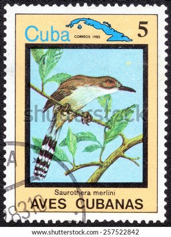 "CUBA - CIRCA 1983:A postage stamp shows Saurothera merlini, from series ""Cuban Birds"", circa 1983 - stock photo"