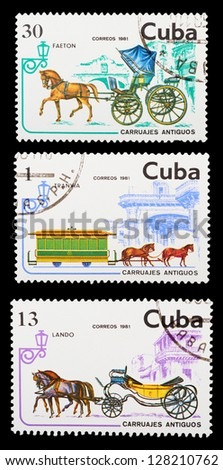 CUBA - CIRCA 1981: A set of postage stamps printed in CUBA shows historic transport, series, circa 1981 - stock photo