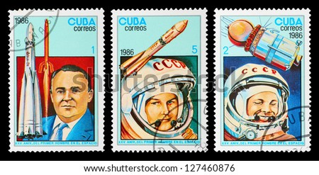 CUBA - CIRCA 1986: A set of postage stamps printed in CUBA shows Korolev, Gagarin and Tereshkova, series cosmos, circa 1986