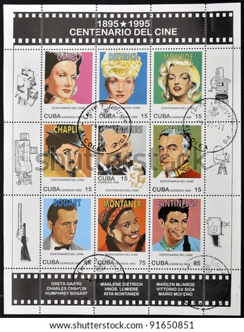 CUBA - CIRCA 1995: A set of stamps printed in Cuba dedicated to the centenary of cinema shows Greta Garbo, Marlene Dietrich, Marilyn Monroe, Chaplin, Lumiere, Sica, Bogart, Montaner and Cantinflas, circa 1995 - stock photo
