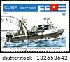 CUBA - CIRCA 1978: A stamp printed by Cuba shows an ship trawler for the poop , stamp from series devoted fishing fleet of Cuba, circa 1978. - stock photo