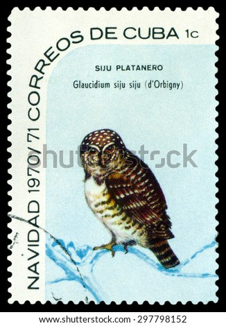 CUBA - CIRCA 1970: A stamp printed by Cuba, shows  bird  Cuban pygmy owl, Glaucidium siju, circa 1970 - stock photo