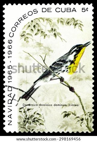 CUBA - CIRCA 1965: A stamp printed by Cuba, shows  bird  Yellow-throated warbler, Dendroica dominica , circa 1965 - stock photo