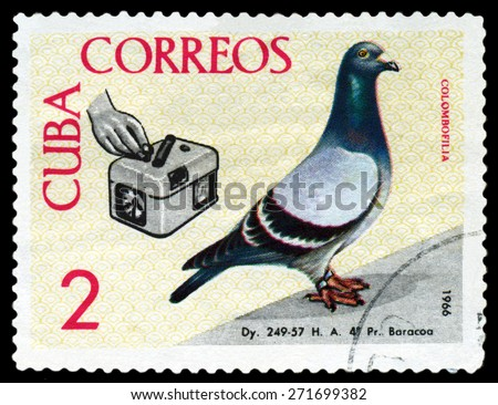 CUBA - CIRCA 1966: A stamp printed by Cuba, shows  Birds. Timer, Baracoa to Havana championship flight, 1959, circa 1966 - stock photo