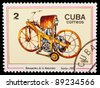 CUBA - CIRCA 1985: A stamp printed by CUBA shows old motorcycle, series, circa 1985 - stock photo