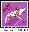 CUBA- CIRCA 1972: a stamp printed by Cuba, shows shot put , devoted international athletics competition, 7 anniversary ,circa 1972 - stock photo