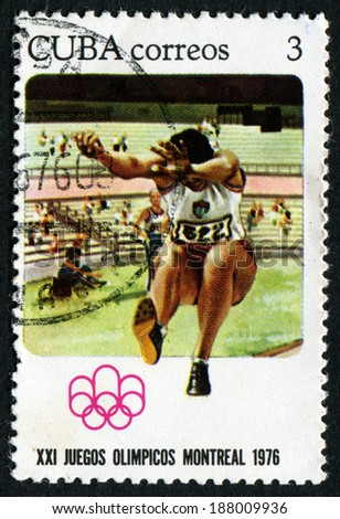 CUBA - CIRCA 1977: a stamp printed Cuba, shows Broad jump. Olympic games in Montreal, circa 1976 Cuba.