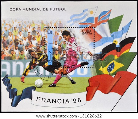 CUBA - CIRCA 1998: A stamp printed in cuba dedicated to Football World Cup France 98, circa 1998 - stock photo
