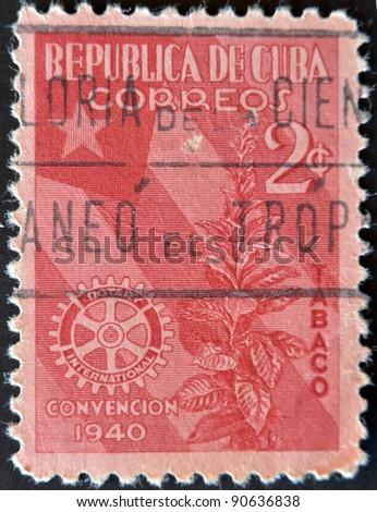 CUBA - CIRCA 1940: A stamp printed in Cuba dedicated to plant to snuff, circa 1940 - stock photo