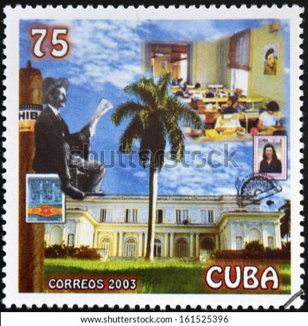 CUBA - CIRCA 2003: A stamp printed in Cuba dedicated to the Cuban cigar industry, circa 2003 - stock photo