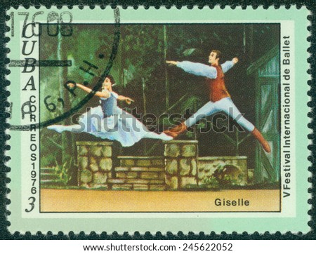 """CUBA - CIRCA 1976: A stamp printed in Cuba, dedicated to the International Ballet Festival, shows a scene from the ballet """"Giselle"""" , circa 1976 - stock photo"""