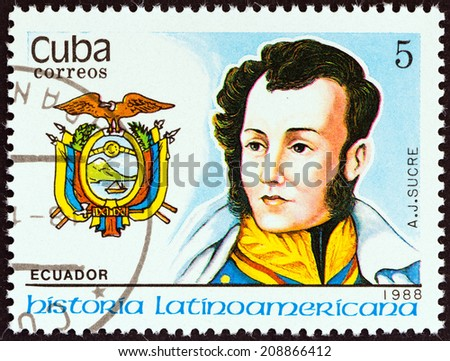 """CUBA - CIRCA 1988: A stamp printed in Cuba from the """"Latin American History (3rd series)"""" issue shows Coat of Arms and Antonio Jose de Sucre (Ecuador), circa 1988.  - stock photo"""