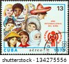 CUBA - CIRCA 1979: A stamp printed in Cuba issued for the International Year of the Child shows children from around the world, circa 1979. - stock photo