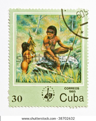 CUBA - CIRCA 1985: A stamp printed in Cuba show old life of American indian, series, circa 1985