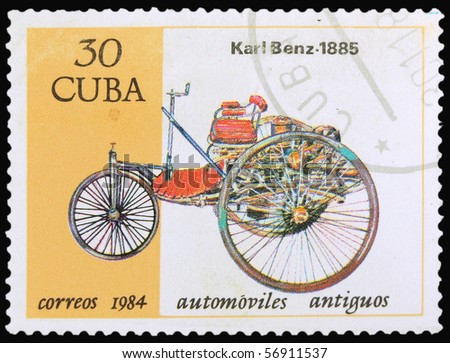 CUBA - CIRCA 1984: A stamp printed in Cuba showing vintage car, circa 1984 - stock photo