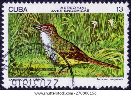 CUBA - CIRCA 1978: A stamp printed in Cuba shows bird Yellow-headed Warbler (Teretistris ), series Cuban birds, circa 1978   - stock photo