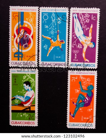 CUBA - CIRCA 1964: A stamp printed in Cuba shows different kind of sport, circa 1964. - stock photo