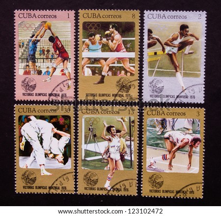 CUBA - CIRCA 1976: A stamp printed in Cuba shows different kind of sports and sportsmen in Cuba, circa 1976. - stock photo