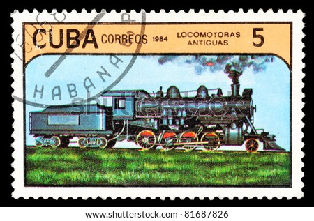 CUBA - CIRCA 1984: A stamp printed in Cuba shows Early Locomotives. Ancient transport, circa 1984 - stock photo