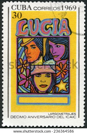 CUBA - CIRCA 1969: A stamp printed in Cuba shows Entertainers, devoted National Film Industry, 10th anniversary, circa 1969  - stock photo