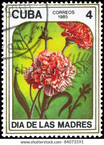 "CUBA - CIRCA 1985: A Stamp printed in CUBA shows image of a Carnations, from the series ""Mother's Day"", circa 1985"