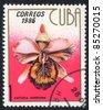 CUBA - CIRCA 1986: A stamp printed in Cuba shows image of a Cattleya hardyana, circa 1986 - stock photo