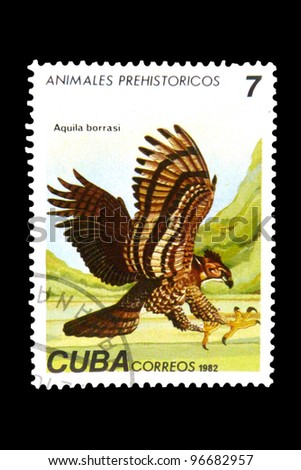 "CUBA - CIRCA 1982: A Stamp printed in CUBA shows image of a Prehistoric animal with the inscription ""Aquila borrasi"", from the series ""Prehistoric Fauna"", circa 1982"
